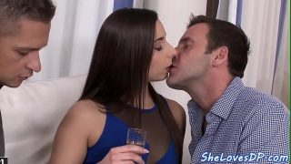 Eurobabe double penetrated after sucking
