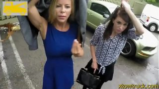 Mature milf offers handjob to a tow truck driver for her car