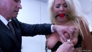 Bound secretary dp banged in the office
