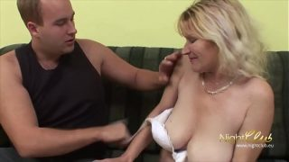 German – Old Wife with saggy tits blowing and fucking young guy