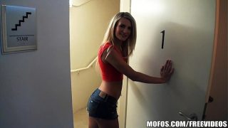 Horny blonde with a bangin body agrees to take a dick in her ass